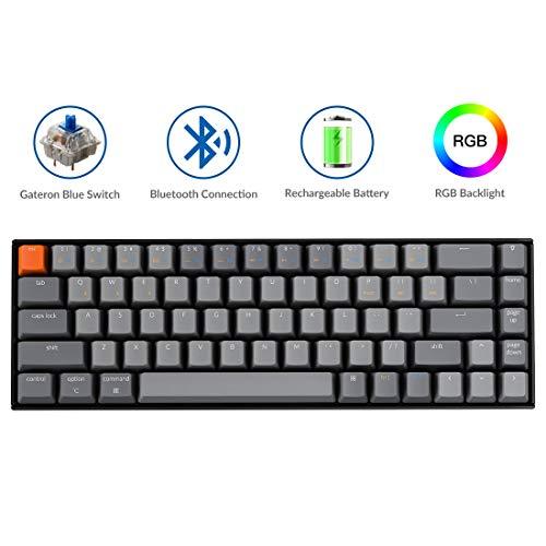 Keychron K6 Bluetooth Wireless Mechanical Keyboard with Gateron Blue Switch/RGB Backlit/Rechargeable Battery, 68 Keys Compact Keyboard for Mac Windows