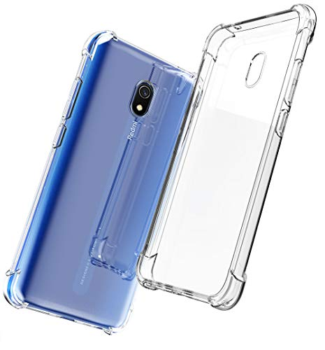QHOHQ Cover per Xiaomi Redmi 8A, Custodia Trasparente Gel Silicone Sottile TPU Silicone Ultra Sottile Case per Xiaomi Redmi 8A (Trasparente)