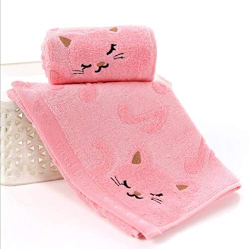 LASISZ Cute Cat Child Towel Bamboo Fiber Towel Cotton Towel Strong Water Absorbing Microfiber 25 * 50 cm for Home Bathing Shower Towel,Pink
