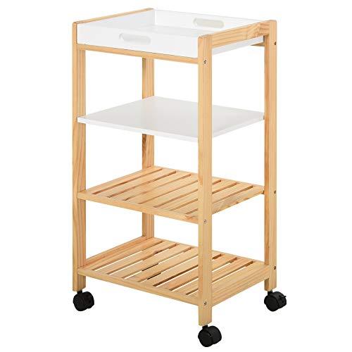 Chariot de service desserte de cuisine à roulettes 3 étagères + plateau amovible bois de pin MDF...