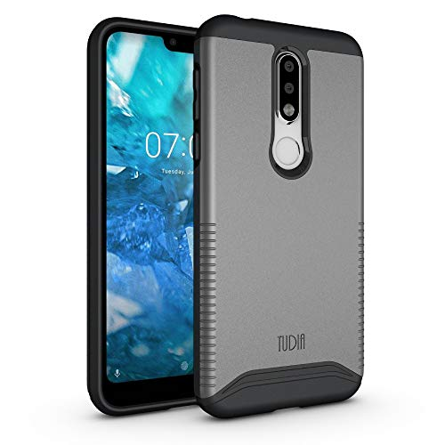 TUDIA Merge Nokia 7.1 Case with Heavy Duty Extreme Protection Rugged but Slim Dual Layer Shock Absorption Case for Nokia 7.1 (2018) [NOT Compatible with Nokia 6.1] (Metallic Slate)