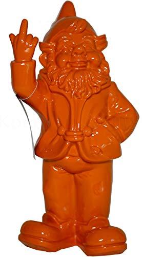 Stone-Lite Figur - Gartenzwerg mit Stinkefinger - 30 cm - orange - lustiges Geschenk