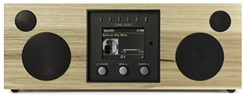 Como Audio: Duetto - Wireless Music System with Internet Radio, Spotify Connect, Wi-Fi, FM, and Bluetooth - Hickory/Black