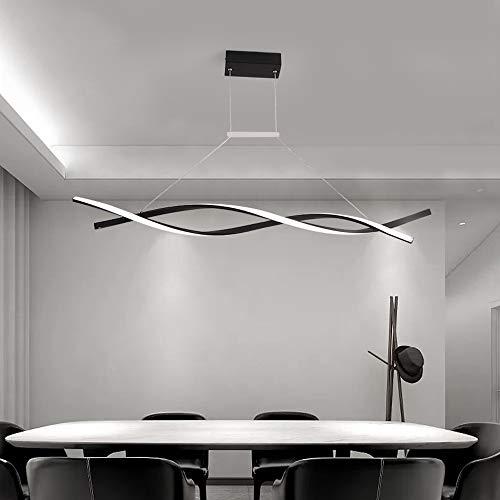 LED Colgante de luz Regulable con control remoto Lámpara colgante Moderno Espiral Diseño Candelabro para Isla de cocina Bar Mesa de comedor Sala de estar Loft Oficina Lámparas de araña (Negro,