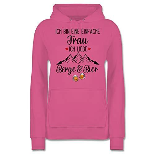 Après Ski - Ich Bin eine einfache Frau, Ich Liebe Berge und Bier schwarz - M - Rosa - Bier - JH001F - Damen Hoodie und Kapuzenpullover für Frauen