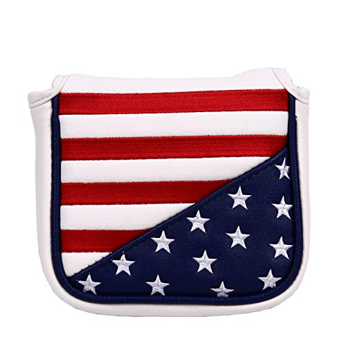 USA Stars and Stripes Square Mallet Shaped Magnetic Closure Golf Putter Head Cover for Scotty Cameron Golf Builder