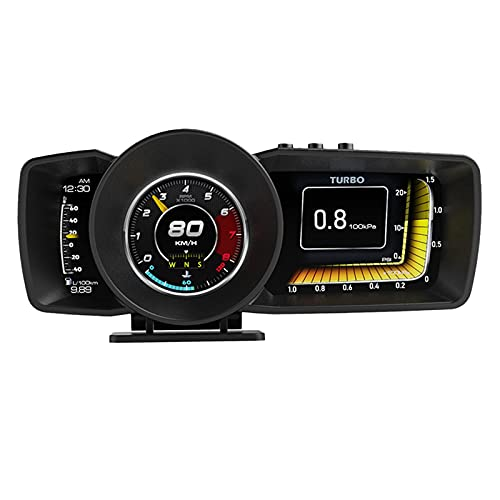 Head UP Display Car HUD Dashboard Display Multi-Function Gauge with OBD2 + GPS Dual System, Speedometer Smart Gauge Dashboard Computer with Alarm System Turbo Boost A600 HUD OBD2 Gauge Display