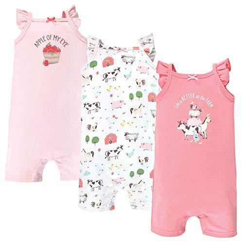 Hudson Baby Unisex Baby Cotton Rompers  Girl Farm Animals  3-6 Months