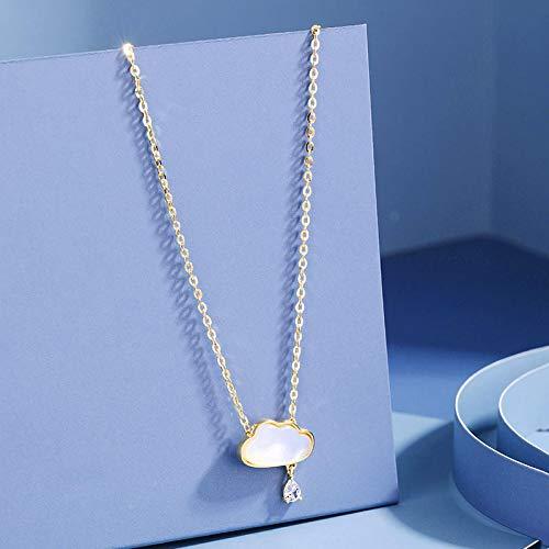 Collar Collar con Colgante De Nube De Concha De Plata De Ley 925 para Mujer, Aniversario, Boda, Fiesta, Joyería, Regalo, Color Plateado