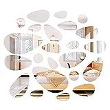 Adesivo Specchio Set forma di ciottoli, adesivo decorativo smontabile acrilico fai da te a nastro per soggiorno camera da letto (24 pezzi)