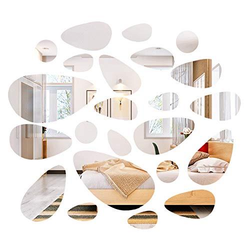 Wandaufkleber Spiegel Set Kopfsteinform, Splitter Diy Acryl Removable Wall Decor Aufkleber für Wohnzimmer Schlafzimmer (24 stücke)