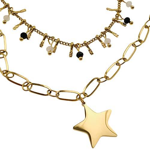 Collar famoso AISADI 20081655/19 para un regalo de estrella, rosario chapado en oro antialérgico de acero inoxidable quirúrgico BLUEBERRY TTM XUPING MOONRIVER STAINLESS STAINLESS SUNLIGHT