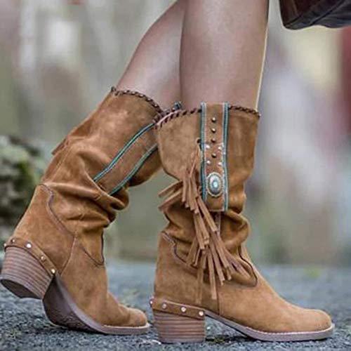 LCCYJ Botas de Mujer Otoño Invierno Zapatos Botas Antideslizante Cómodo Botas de Mujer de Tubo Medio con Borlas de Tacón Medio,Camel,37