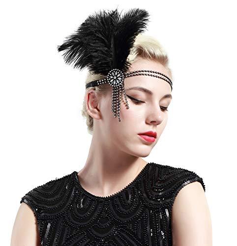 BABEYOND Bandeau Cristal Bandeau Plume Flapper Headband Silver Gatsby Art des Années 1920 Cérémonies Accessoires de Cheveux Bandeaux Plume, Argenté