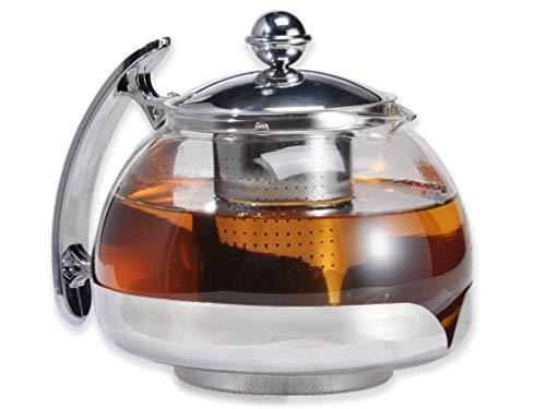 Gravidus Teekanne mit Siebeinsatz und Deckel 1,2 Liter aus Glas mit Ausguss und verchromten Griff, Edelstahl - Maße ca. 18 x 15 x 14 cm, Menge 1 Stück