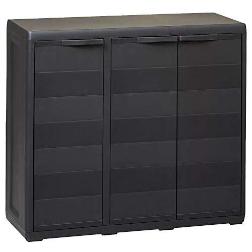 lyrlody- Armario de jardín con estante ajustable y 3 puertas para jardinería, equipamiento, armario de polipropileno, para jardín, balcón, terraza, 97 x 38 x 87 cm, color negro