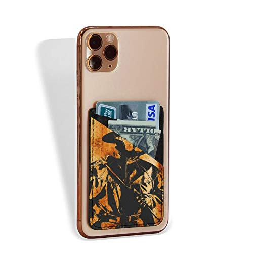 Distressed Plague Doctor Artwork Steampunk Style Double Slot Credit Card Holder for Back of Phone, Cell Phone Pocket Stick On Wallet Card of Phone-Self Adhesive Sticker On Smartphones