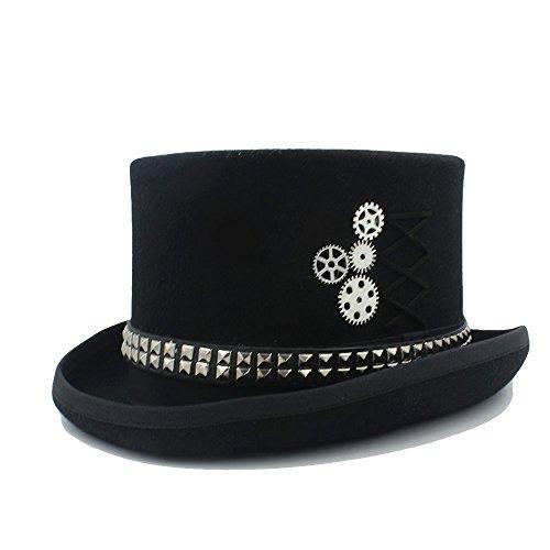 GHC Gorras y Sombreros para Mujeres Wen Fodora Steampunk Sombrero con Remaches Engranajes Sombrero de Copa (Color : 1, Size : 61cm) (Ropa)