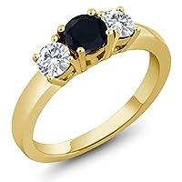 Gem Stone King 1.02カラット 天然 オニキス 指輪 リング レディース 合成ダイヤモンド シルバー925 イエローゴールドコーティング
