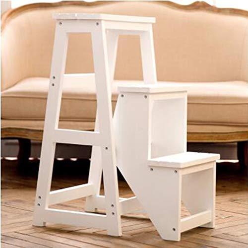 GUOXY Massivholz-Kliter Stuhl 3 Tier Leiter Hocker Schritt Treppe Hocker Haushaltsleiter Multi-Layer-Speicher Ladder Dual-Use Schritt Hocker,Weiß