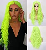 LANOVA Neon Green Wig, Lime Green Wigs for Women, Long Curly Wig, Green Wigs Middle Part, Synthetic Wigs, Cosplay Green Wig, 22 inch Fluorescent Wig LANOVA-070
