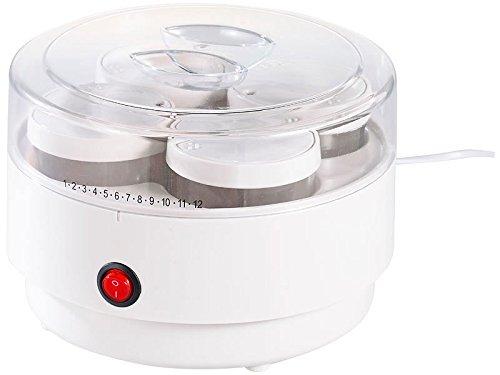 PEARL Jogurtmaschine: Joghurt-Maker mit 4 Portions-Gläsern je 150 ml, spülmaschinengeeignet (Joghurtautomat)