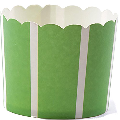 Simply Baked Large 5 Ounce Disposable Paper Baking, Party, Treat, Candy, Cupcake, Muffin and Snack Cups, 20-Pack, Green with White Stripe