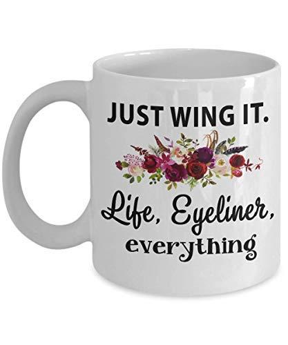 Maureen52Dorothy gewoon vleugel het leven Eyeliner alles, geschenk voor make-up minnaar, make-up artiest, schattige mok, beste vriend, lippenstift, mascara, beker, Beauty School koffiemok