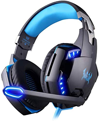 LNDDP Gaming Headset, USB 7.1 Surround Sound Computer Headset Kopfhörer mit Mikrofon, Blackblue