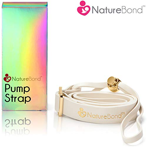 NatureBond Pump Strap Lanyard for Manual Silicone Breast Pump/Breastfeeding/Breastmilk Saver - PU Leather Ivory Color in Hologram Gift Box