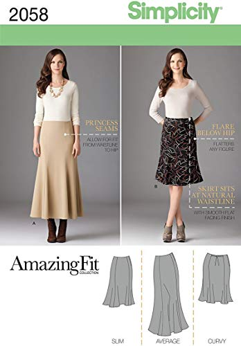 Simplicity 2058 Schnittmuster für Damenrock, Größen 20W-28W