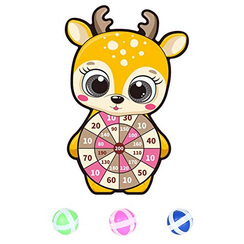 NBRR Juego de dardos, juegos de mesa de dardos de dibujos animados para niños, kit de juegos de mesa con 3 bolas adhesivas y gancho clásico de juguete para niños, niños y niñas