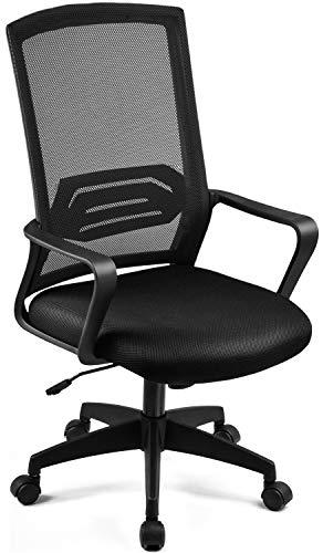 ComHoma オフィスチェア デスクチェア メッシュ 肘付き 通気性抜群 腰を使え (ブラック)