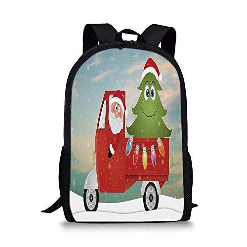 AOOEDM Backpack Mochila Escolar navideña con Estilo, Papá Noel en Rojo camión Vintage con Divertido árbol de Navidad de Dibujos Animados y Coloridas Luces de Hadas para niños, 11