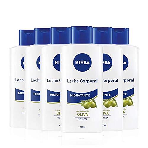 NIVEA Leche Corporal Aceite de Oliva en pack de 6 (6 x 400 ml), leche hidratante corporal con ingredientes naturales, crema para el cuidado de la piel seca