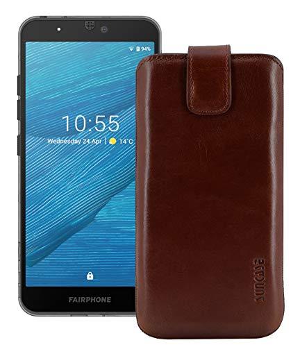 Suncase ECHT Ledertasche Etui kompatibel mit Fairphone 3 Hülle (passend nur mit der MITGELIEFERTE Bumper) Rustik Mocca braun