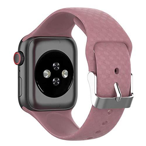 Correa de textura 3D para Apple Watch Band para Apple Watch 5, 4, 3, 44 mm, 40 mm, correa para Iwatch Band 38 mm, 42 mm, pulsera de silicona, color lila