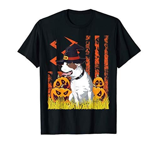 American Bulldog Dog Witch Dance Pumpkins Halloween US Flag T-Shirt
