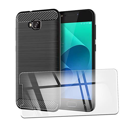 QFSM Funda + Cristal Templado para ASUS Zenfone 4 Selfie ZD553KL Silicona Carcasa TPU Anti-Knock Fibra de Carbono Cover Case, HD Película Protectora Cristal Templado Pantalla Glass