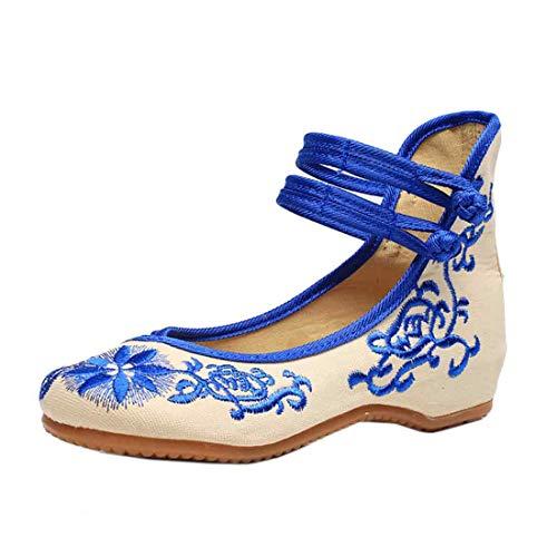 GYUANLAI Frauen im chinesischen Stil Muster Floral bestickten Stoff Schuhe einfarbig erhöht doppelt Schnalle Tanz Keil Schuhe