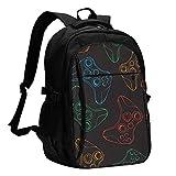 fepeng Juego Mochila Personalidad con USB Mochila Portátil Bolsa Impermeable Viaje Daypack para la Escuela, Negro, Talla única