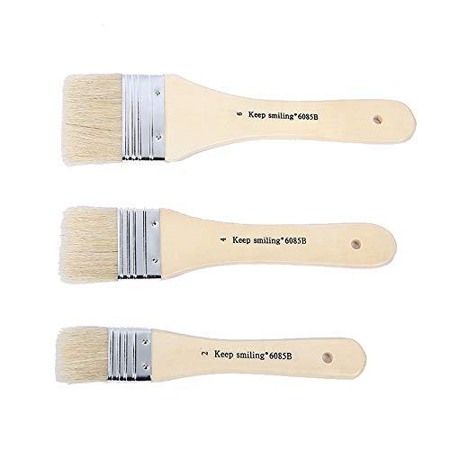 Ensemble de Pinceaux 3 pièces de porc Conseil des cheveux de brosses Peinture à l'huile Conseil Brosse de Peinture à l'huile acrylique Shading Pinceau for huile Aquarelle Peinture Peinture acrylique D