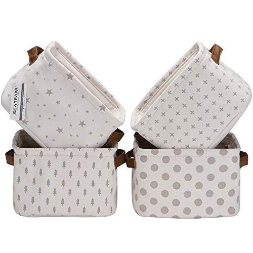 Sea Team Foldable Mini Square New Black and White Theme 100% Natural Linen & Cotton Fabric Storage Bins Storage Baskets Organizers for Shelves & Desks - Set of 4 (Grey 4pcs)