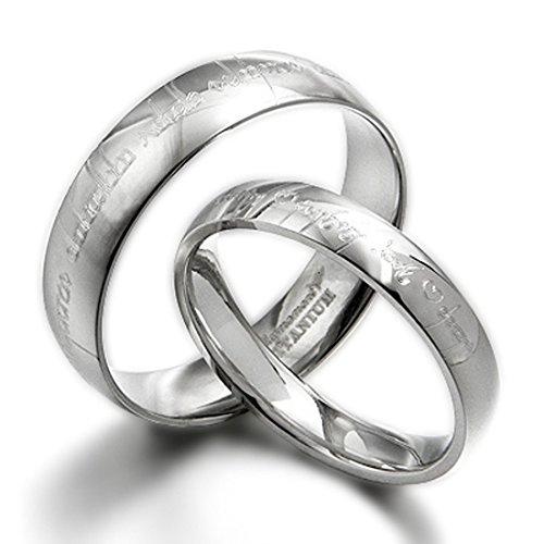 Juego de anillos de boda en titanio para hombre y mujer, con inscripción élfica - Estilo Señor de los Anillos - Varias tallas