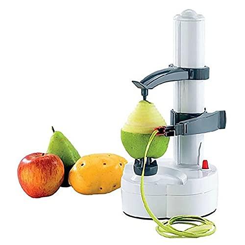 Corlidea Electric Potato Peeler, Automatic Rotating Fruit & Vegetable Cutter Apple Peeler, Kitchen Peeling Tool (White)