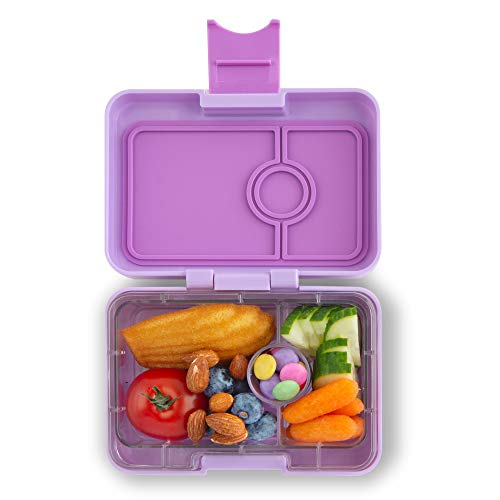 Yumbox Mini XS Snackbox - 3 Fächer (Lila Purple) | Kleine Kinder Bento Box | Brotdose Vesperbox für Krippe, Kindergarten