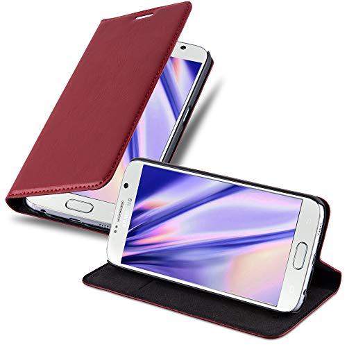 Cadorabo Hülle für Samsung Galaxy S6 - Hülle in Apfel ROT – Handyhülle mit Magnetverschluss, Standfunktion & Kartenfach - Hülle Cover Schutzhülle Etui Tasche Book Klapp Style