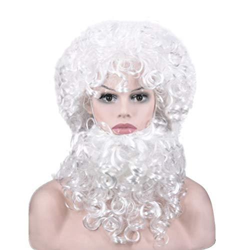 ABOOFAN - Kit de peluca para barba de Pap Noel, disfraz de Navidad, color blanco