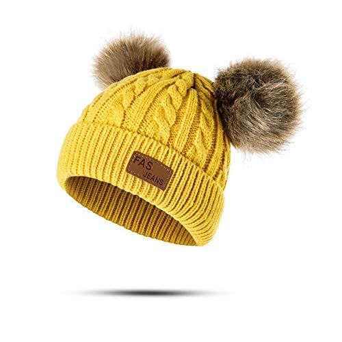 Nuevo Sombrero de bebé Traje de Bufanda Otoño Invierno Tejido para niños Conjunto de Bufanda de algodón para niñas y niños Sombreros Cuello Bufanda para niños-Yellow 2