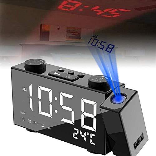 Radio Despertador Digital Proyector,Alarm Clock Digitales Proyección,FM Radio Reloj Despertadores Digitales Proyección,Pantallas Tiempo Reloj Despertador Doble con Temperatura,Modos 12H / 24H (White)